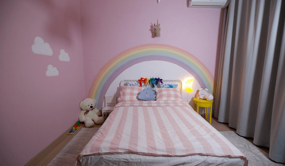 plansa moodboard, proiect tehnic, design interior, amenajare interioara, paleta cromatica, paleta de culori, inspiratia de weekend, amenajare camera de copil, proiect Rainbow Unicorns in the Clouds