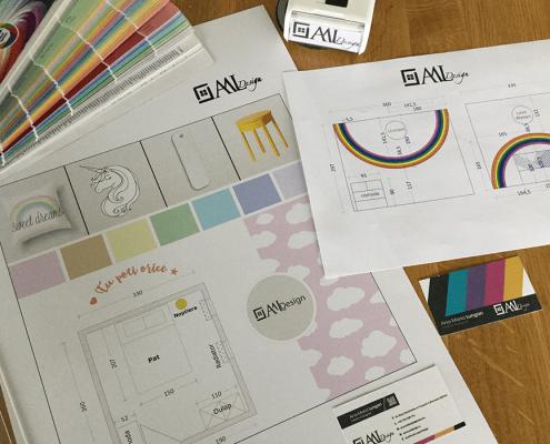 plansa moodboard, proiect tehnic, design interior, amenajare interioara, paleta cromatica, paleta de culori, inspiratia de weekend, amenajare camera de copil, proiect Rainbow Unicorns in the Clouds, moodboard, oglinda Design&After, noptiera IKEA