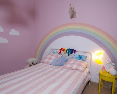 Amenajare interioara camera copil, plansa moodboard, proiect tehnic, design interior, amenajare interioara, paleta cromatica, paleta de culori, inspiratia de weekend, proiect Rainbow Unicorns in the Clouds, accesorii, mobilier