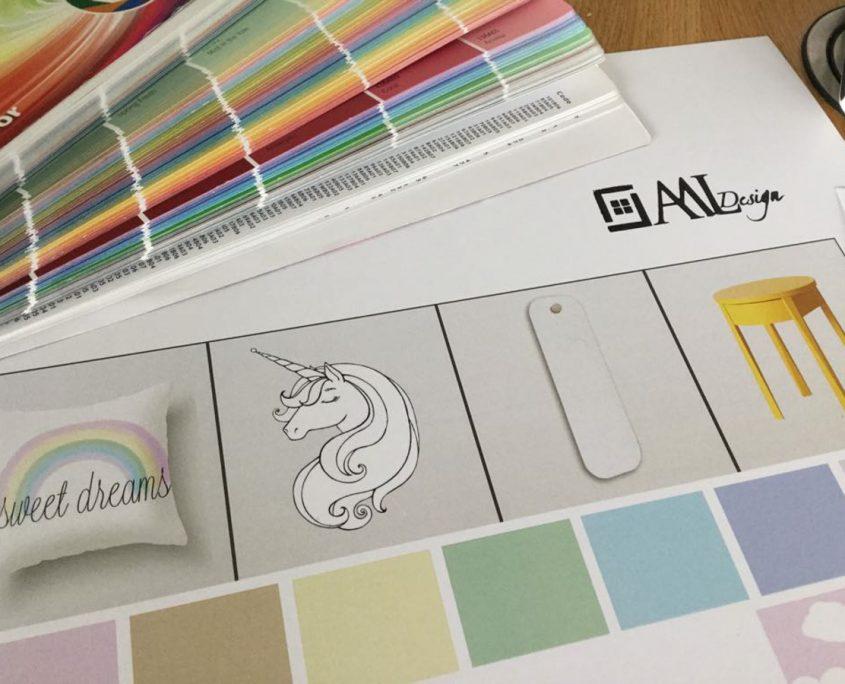 Rainbow Unicorns in the Clouds, moodboard, detalii de interior, paleta de culori, paleta cromatica, decoratiuni, obiecte decorative, design interior, amenajare interioara